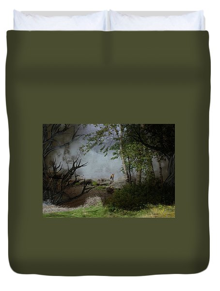 Fox On Rocks Duvet Cover