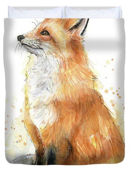Fox Watercolor Duvet Cover
