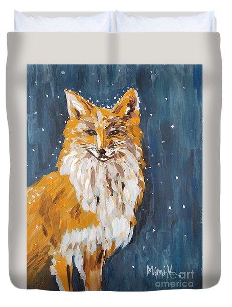 Fox Winter Night Duvet Cover