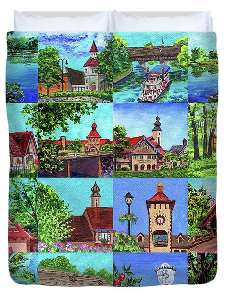 Frankenmuth Downtown Michigan Painting Collage I Duvet Cover