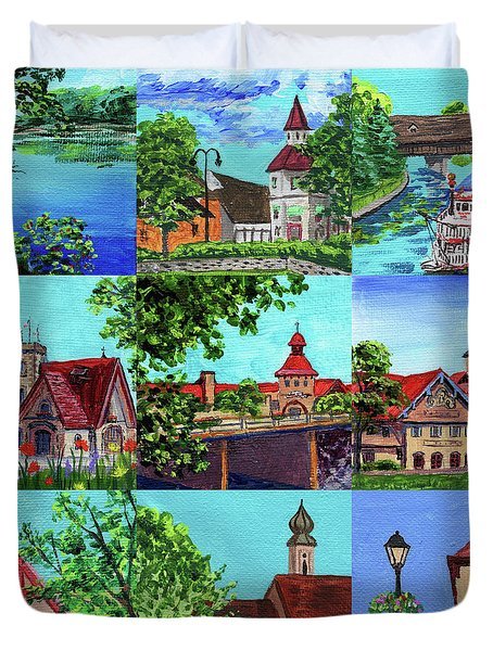 Frankenmuth Downtown Michigan Painting Collage II Duvet Cover