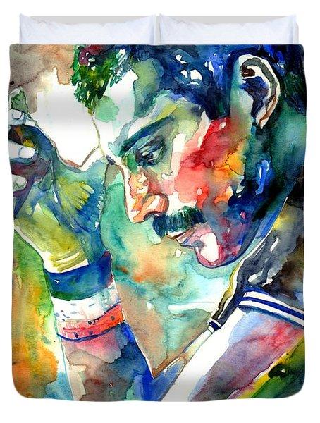 Freddie Mercury With Cigarette Duvet Cover