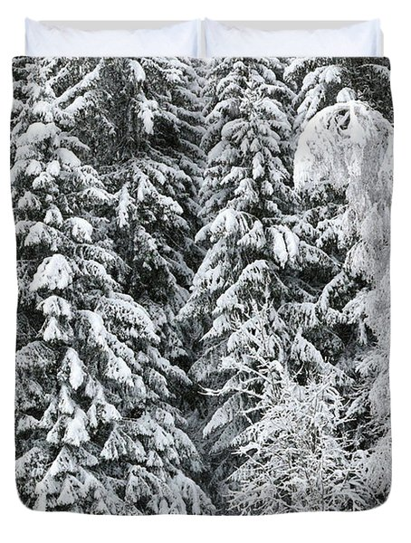 French Alps, Snow Covered Fir Trees In Winter Duvet Cover