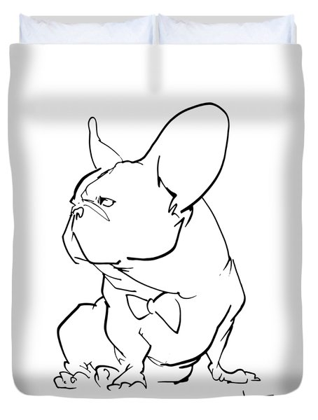French Bulldog Gesture Sketch Duvet Cover