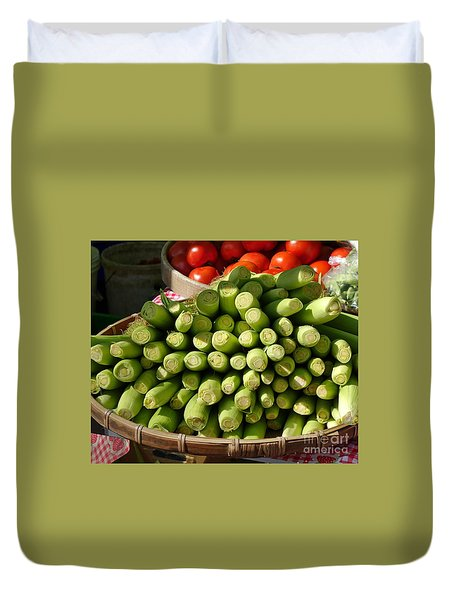 Fresh Baby Corn And Ripe Tomatoes Duvet Cover