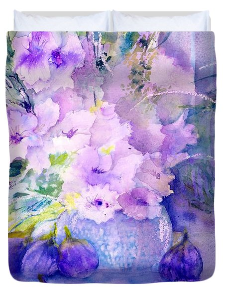 Fresh Figs And Orchids Still Life Duvet Cover
