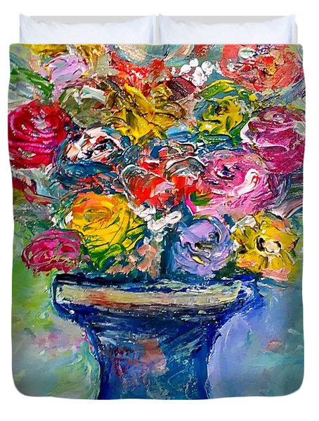 Duvet Cover featuring the painting Fresh Flowers by Deborah Nell