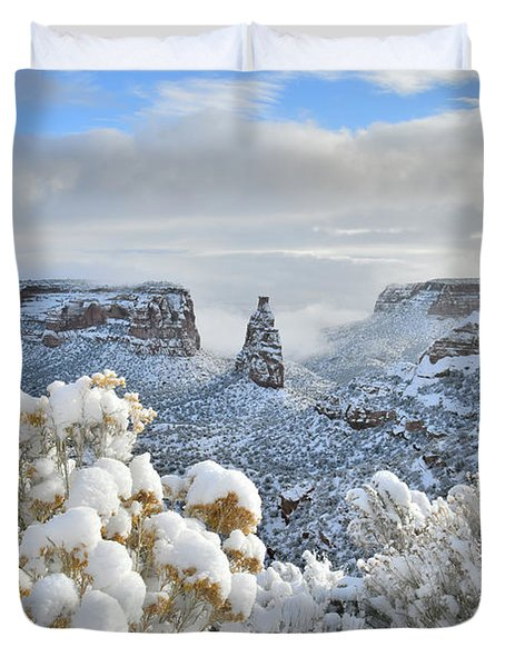 Fresh Snow At Independence Canyon Duvet Cover