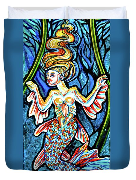 Freshwater Mermaid With Water Lilies At Night Duvet Cover