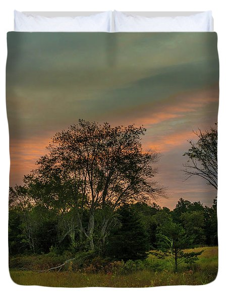 Pine Lands In Friendship Sunrise Duvet Cover