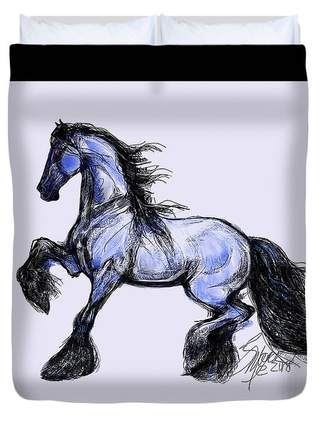 Duvet Cover featuring the digital art Friesian Mare by Stacey Mayer