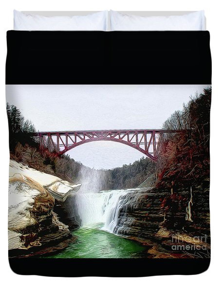 Frletchworth Railroad And Falls Duvet Cover