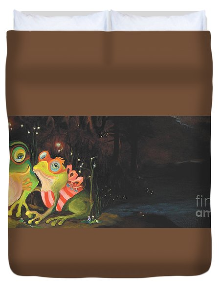 Frogs Of Silver Lake Duvet Cover