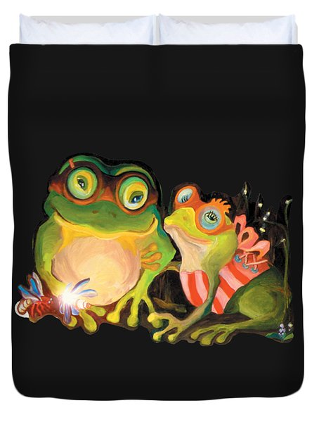 Duvet Cover featuring the painting Frogs Overlay  by Donna Hall
