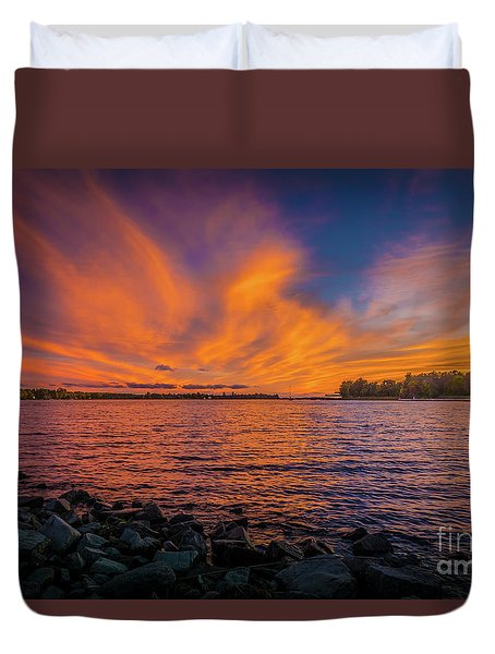 Frontenac Ferry Sunset Duvet Cover