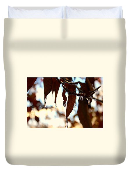 Duvet Cover featuring the photograph Frozen Autumn  by Candice Trimble