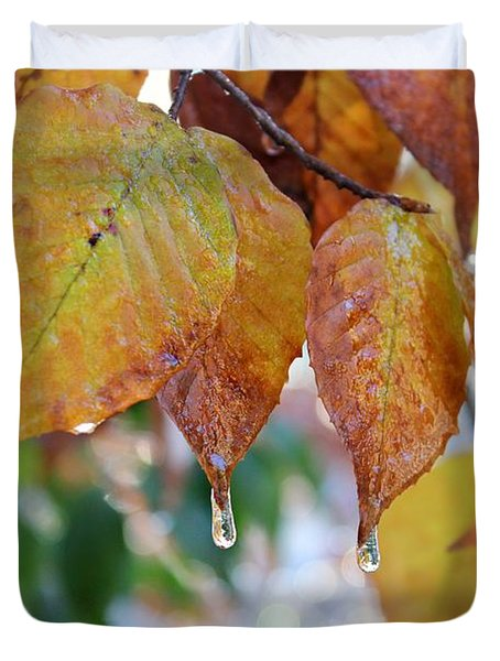 Icy Foliage Duvet Cover
