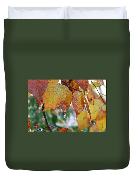 Duvet Cover featuring the photograph Icy Foliage by Candice Trimble