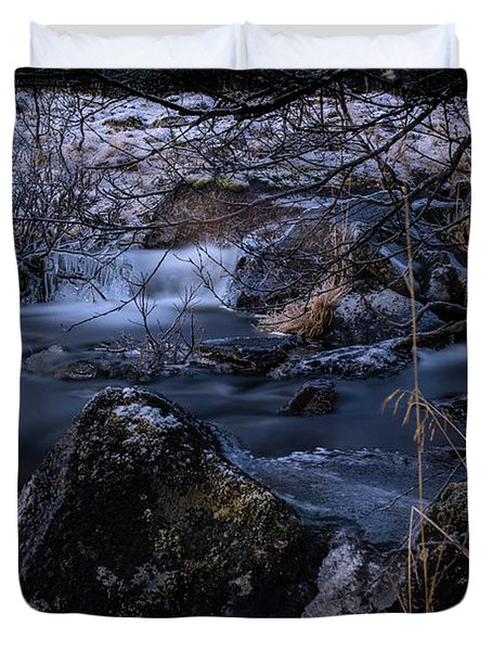 Frozen River And Winter In Forest. Long Exposure With Nd Filter Duvet Cover