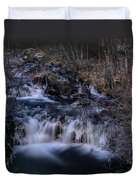 Frozen River In Forest - Long Exposure With Nd Filter Duvet Cover