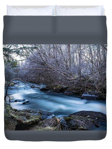 Frozen River Surrounded With Trees Duvet Cover