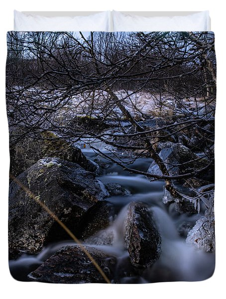 Frozen Stream In Winter Forest Duvet Cover