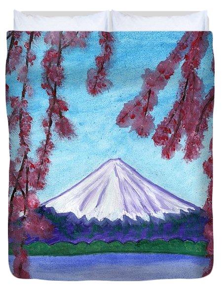 Fuji Mountain And Sakura Duvet Cover