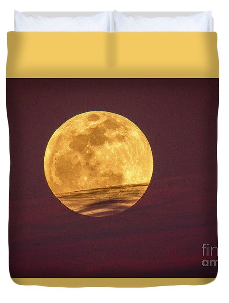Duvet Cover featuring the photograph Full Moon Above Clouds by Tom Claud