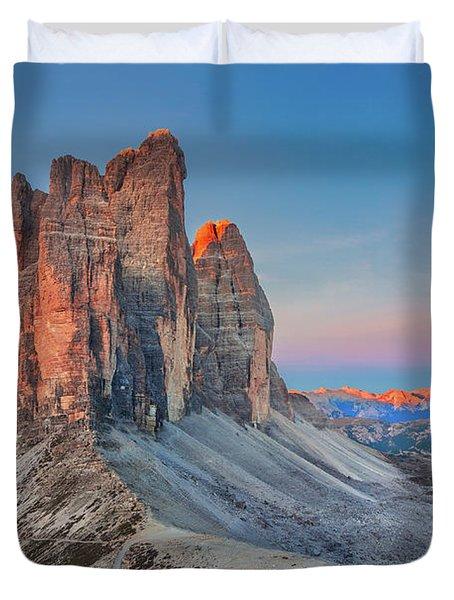 Full Moon Morning On Tre Cime Di Lavaredo Duvet Cover