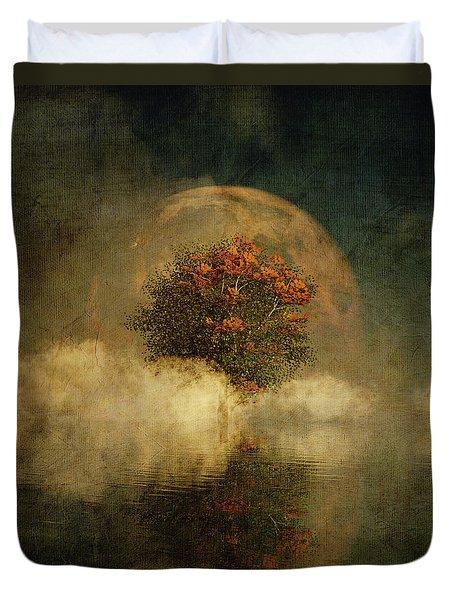 Duvet Cover featuring the digital art Full Moon Over Misty Water by Jan Keteleer