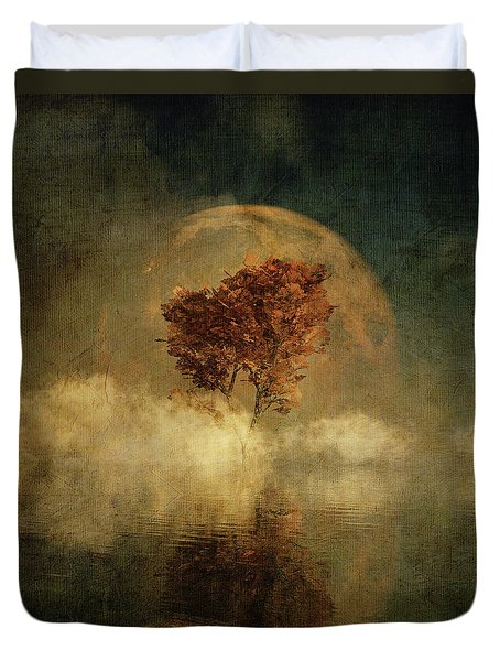 Duvet Cover featuring the digital art Full Moon Over Water by Jan Keteleer