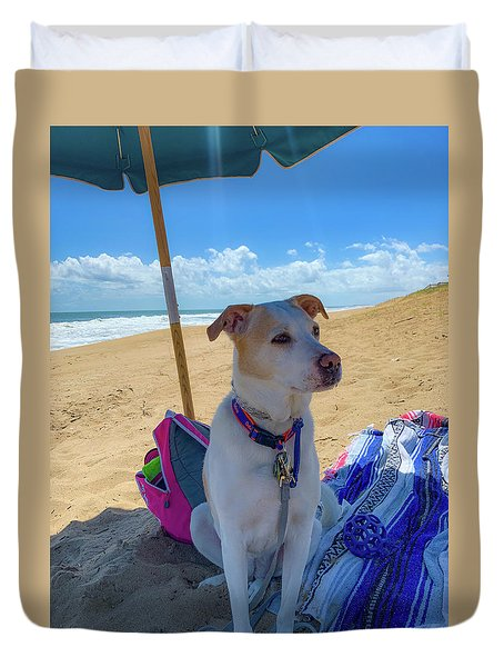 Duvet Cover featuring the photograph Fun Doggie Day At The Beach by Lora J Wilson