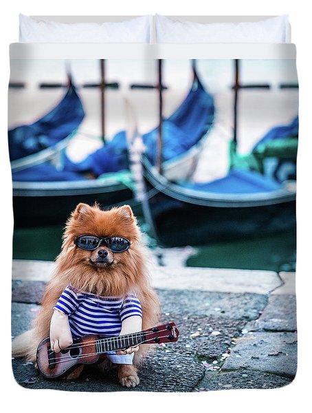 Funny Dog At The Carnival In Venice Duvet Cover