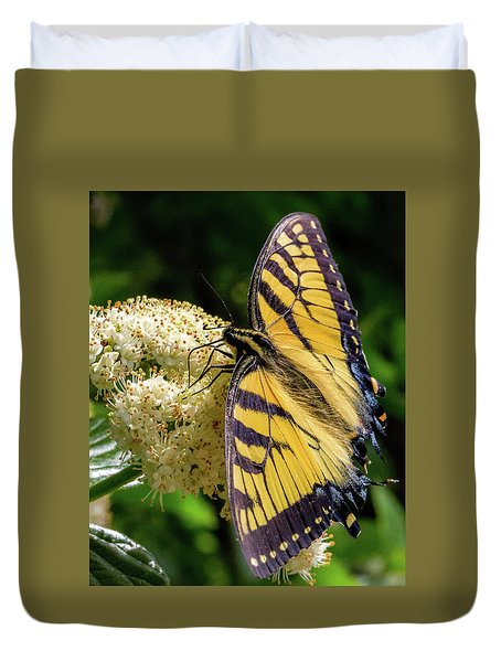 Duvet Cover featuring the photograph Fuzzy Butterfly by Lora J Wilson