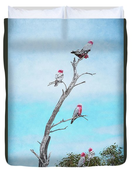Duvet Cover featuring the photograph Galahs On The Lookout by Elaine Teague