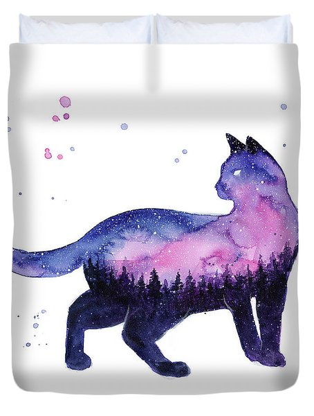 Galaxy Forest Cat Duvet Cover