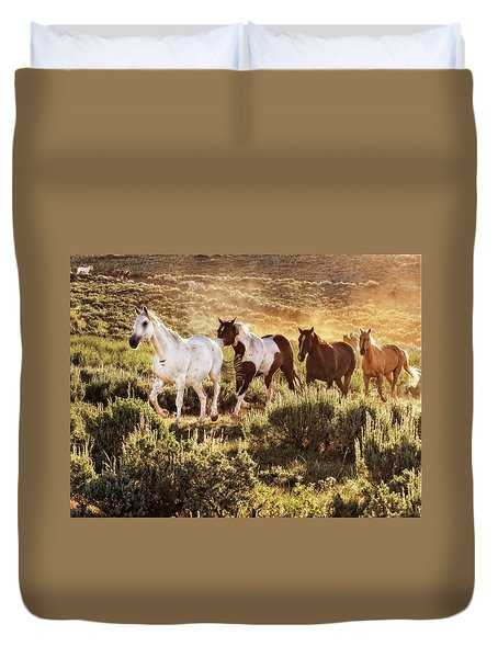 Galloping Down The Mountain Duvet Cover