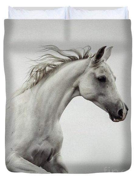 Duvet Cover featuring the photograph Galloping White Horse by Dimitar Hristov