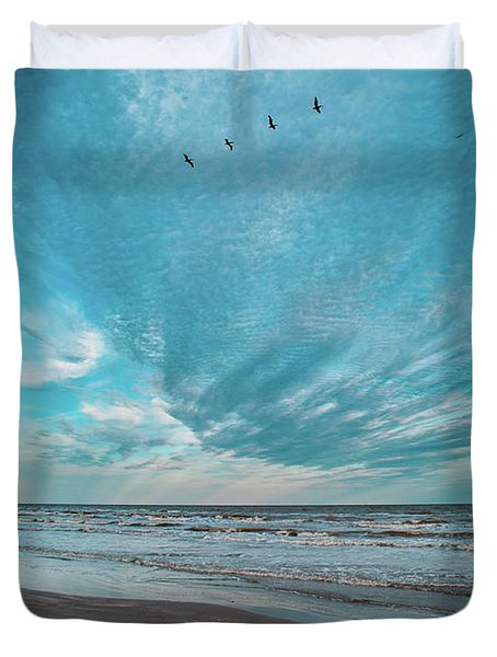 Galveston Island First Light Duvet Cover