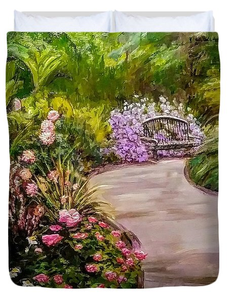 Path To The Garden Bench At Evergreen Arboretum Duvet Cover