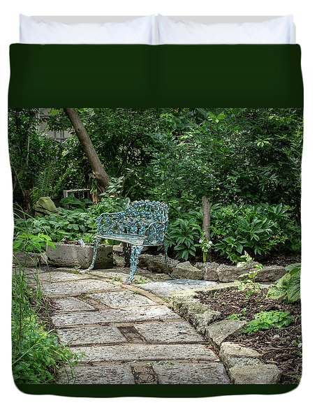 Duvet Cover featuring the photograph Garden Bench by Dale Kincaid