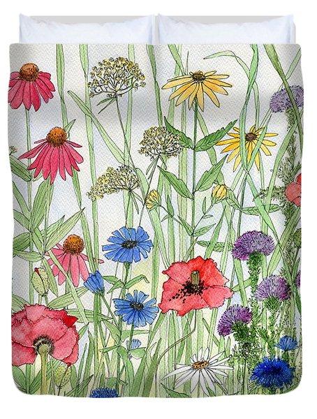 Garden Flower Medley Watercolor Duvet Cover