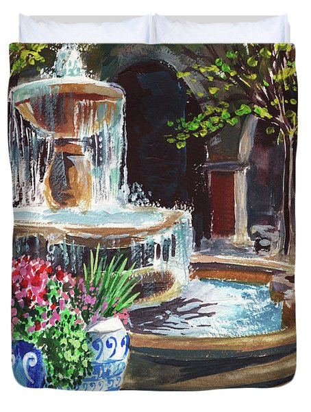 Garden Fountain Impressionism In Watercolor And Gouache  Duvet Cover