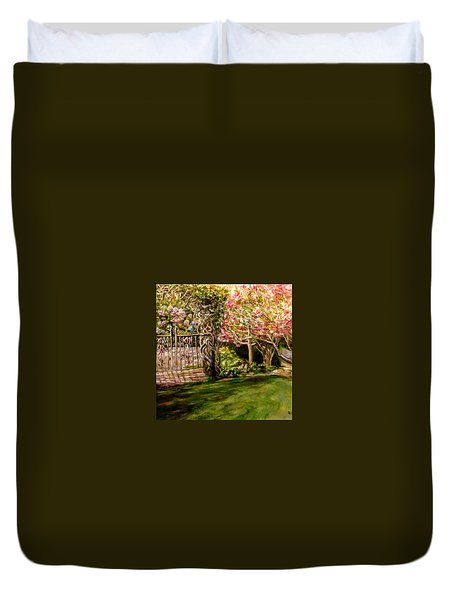Garden Gate At Evergreen Arboretum Duvet Cover