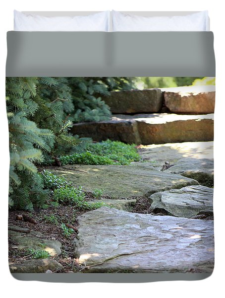 Garden Landscape - Stone Stairs Duvet Cover