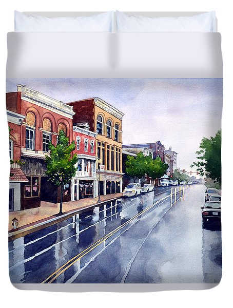 Gaslights And Afternoon Rain Duvet Cover