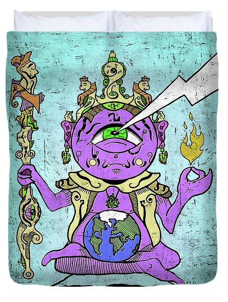 Duvet Cover featuring the digital art Gautama Buddha Colour Illustration by Sotuland Art