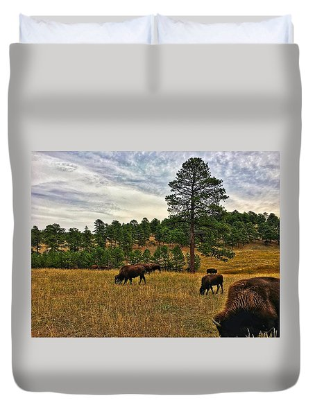 Duvet Cover featuring the photograph Genesee Bison Herd by Dan Miller