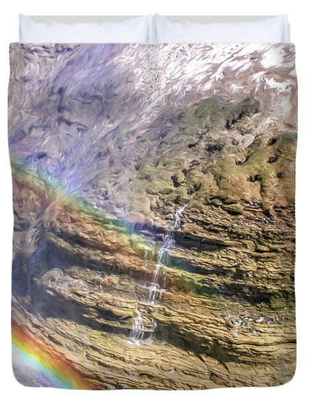 Genesee River With Rocks And Rainbow Duvet Cover