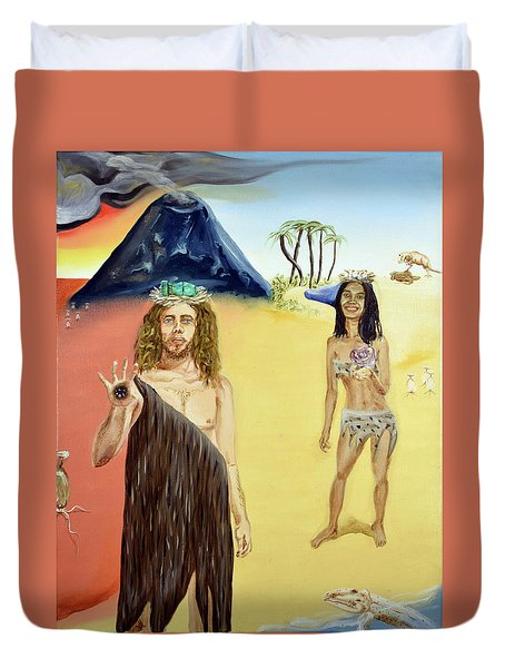 Duvet Cover featuring the painting Genesis by Ryan Demaree